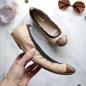 LOUISE ET CIE Flats Leather Textured Snake Cap Toe